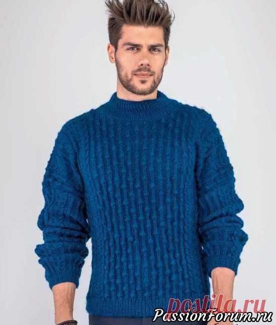 Мужской свитер с фантазийным узором. Описание | Вязание для мужчин спицами. Схемы вязания Современные мужчины шикарно смотрятся в свитерах с фантазийными узорами. Мужской свитер с фантазийным узором, схемы с описанием вязания.Размеры:1 (на 14 лет)/2 (маленький)/ 3 (средний)/4 (большой)Вам потребуется:12/13/14/15 мотков синей (Mer du Nord 0336) пряжи Bouton...