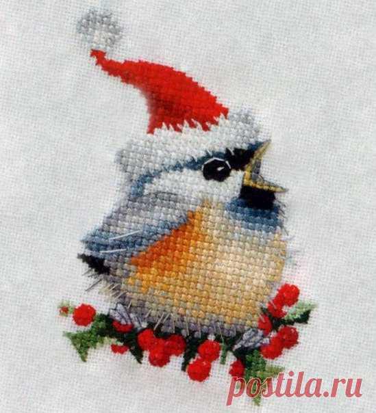 Скачать схему Вышивки Рождественская открытка. Схема вышивки Рождественская птичка | Вязание для всей семьи