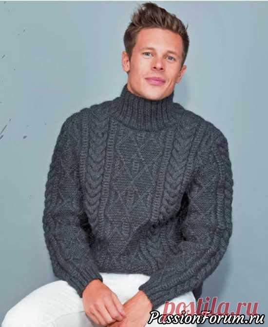Мужской пуловер с фантазийным узором. МК   Вязание  спицами.