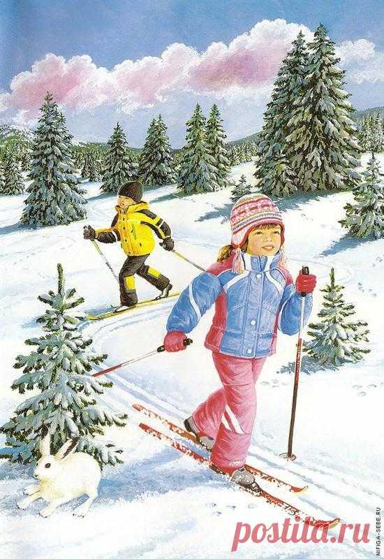на санках с горы рисунок катание - Поиск в Google