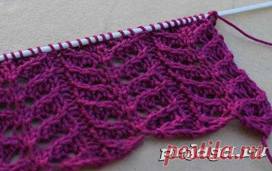 Ажурный узор спицами для вязания