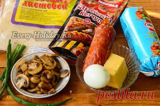 Шаурма с колбасой в домашних условиях, рецепт с фото