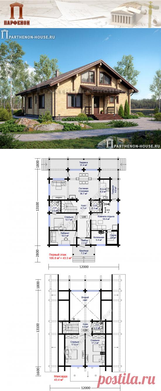 Проект деревянного дома из бруса с мансардным этажом, сауной, спортзалом ДБ 177-3  Площадь общая: 177,30 кв.м. Площадь жилая: 94,70 кв.м. Высота 1 этажа: 2,900 м. Высота в мансарде: до 2,770 м. Высота дома в коньке: 7,540 м. Габаритные размеры дома: 12,000 х 13,110 м. (без крыльца и террасы) Минимальные размеры участка: 18,00 x 20,00 м.  Технология и конструкция: строительство дома из бруса