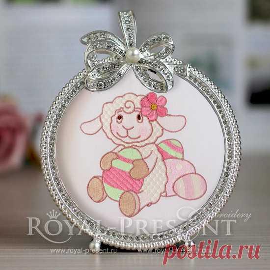 Дизайн машинной вышивки Маленькая Пасхальная овечка -2 размера