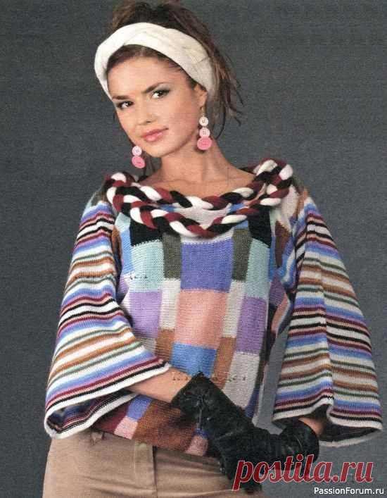 Пуловер, повязка и шарф   Вязание для женщин спицами. Схемы вязания спицами Размер: 38Вам потребуется:• 100 г белой, по 50 г чёрной, бирюзовой, голубой, розовой, сиреневой, фиолетовой, серой, горчичной, тёмно-горчичной и бордовой пряжи (30% ангоры, 70% акрила, 275 м/50 г)• вязальная машина Silver Reed• крючок № 2,5Плотность вязания, структурная кулирная гладь на...