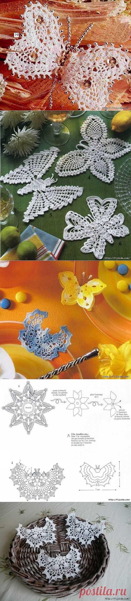 2 часть. Вяжем крючком изящные бабочки..