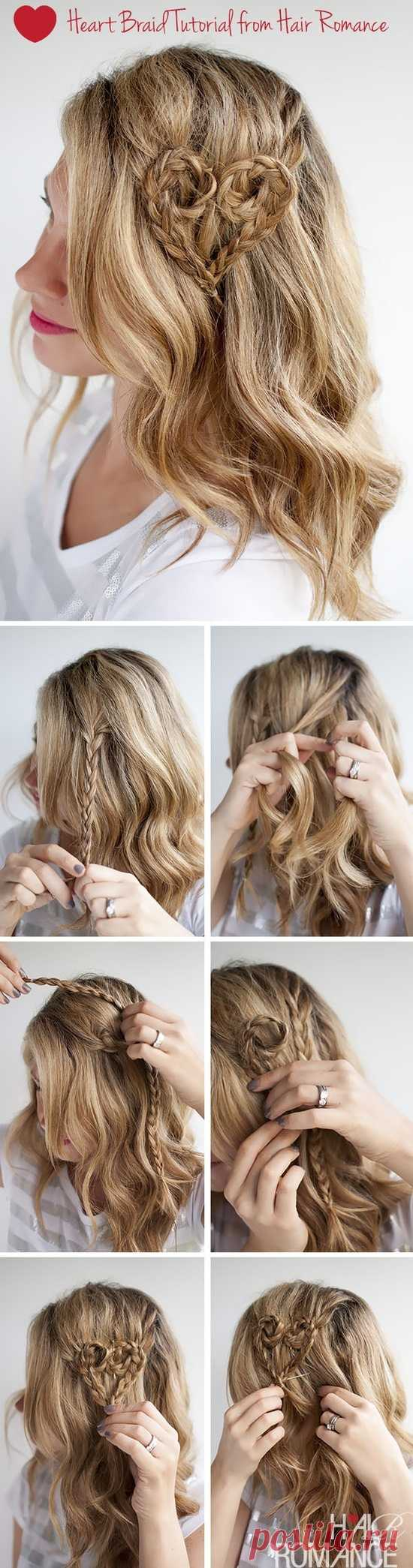 Сердце в волосах: плетение из кос