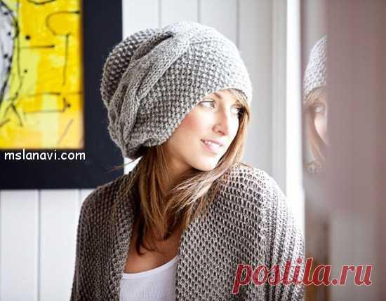 модная вязаная шапка спицами вяжем с лана ви шапки снуды