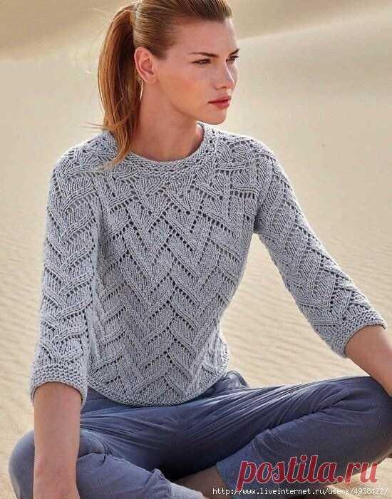 красивый пуловер спицами как связать кофту спицами описание вязания