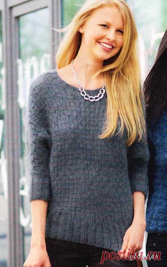 Сине-серый пуловер с рукавами «летучая мышь»
