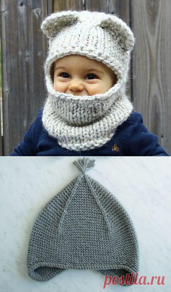 шапочка для мальчика как связать спицами описание вязание детской