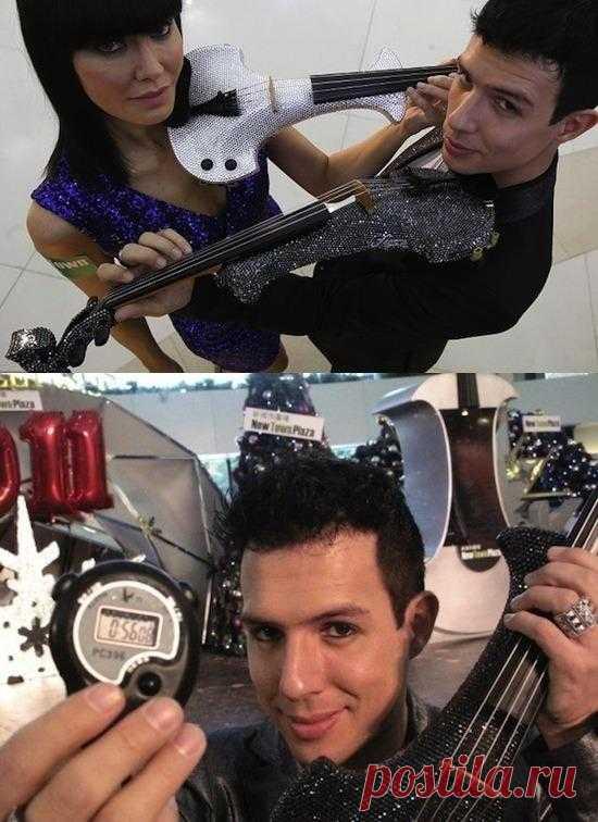 Британский скрипач Бен Ли играет «Полет шмеля» на электрической скрипке в среднем со скоростью 15 нот в секунду. В Книге Рекордов Гиннеса он официально числится самым быстрым человеком на планете. Его пальцы застрахованы на 3 миллиона фунтов стерлингов…
