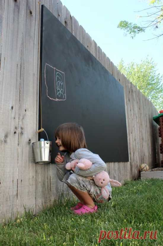 """Идея для детского творчества - """"рисуем на заборе""""!"""