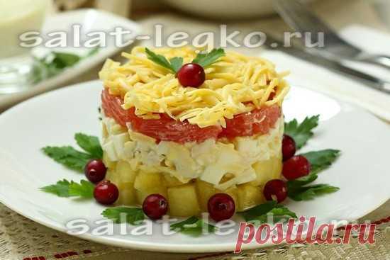Слоеный салат с курицей и ананасом