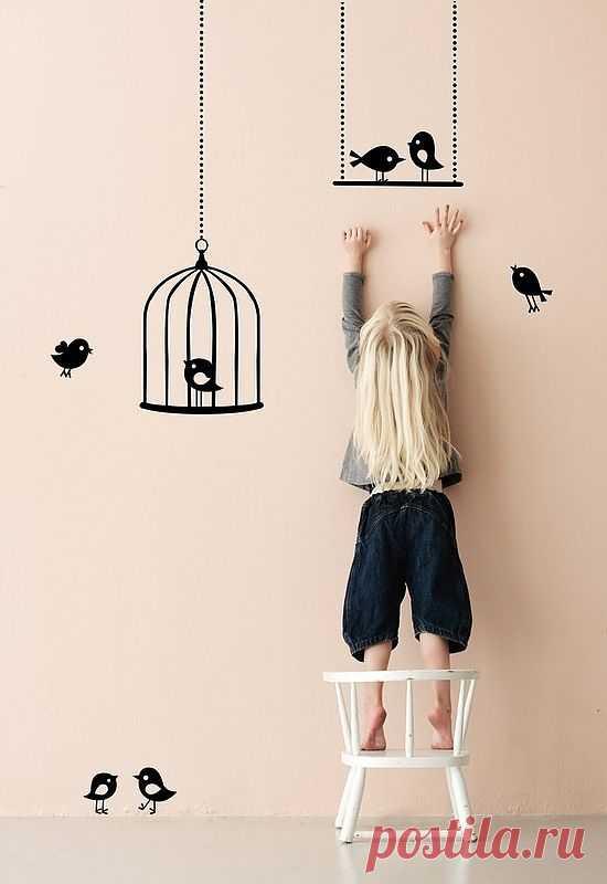 Птичья тема : декор стены детской / Детская комната / Модный сайт о стильной переделке одежды и интерьера