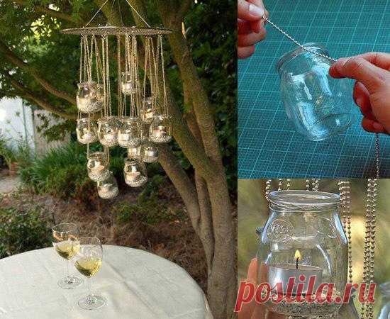 Идея как использовать баночки из-под детского питания. Сделать светильник для романтического ужина на открытом воздухе!