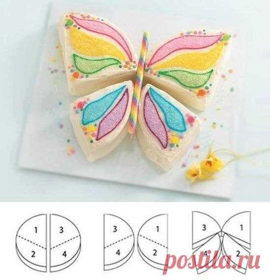 Как порезать корж для торта в виде бабочки