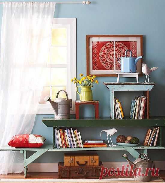 Стенка - стеллаж из... скамеек! / Мебель / Модный сайт о стильной переделке одежды и интерьера