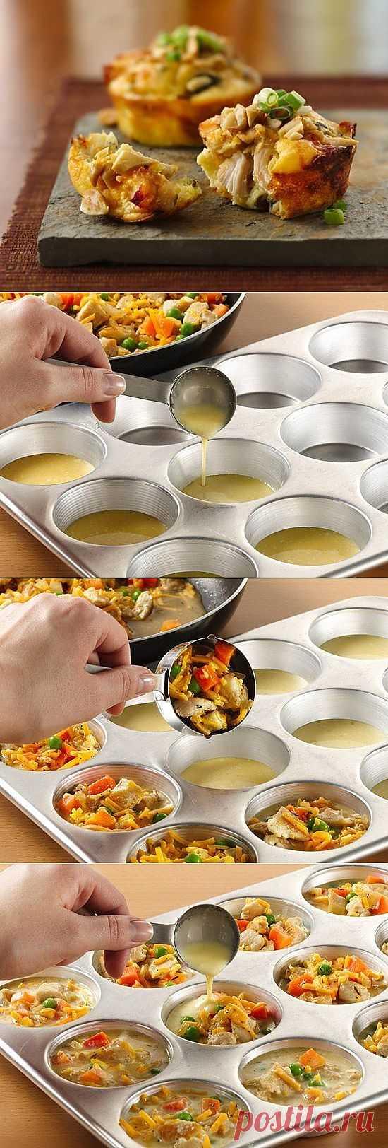 Бисквитные маффины с овощной начинкой и курицей..