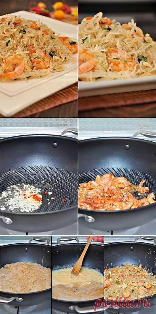 Рисовая лапша с креветками по-тайски. Интересное блюдо которое может порадовать ваших близких своей необычностью (в наших краях :) )