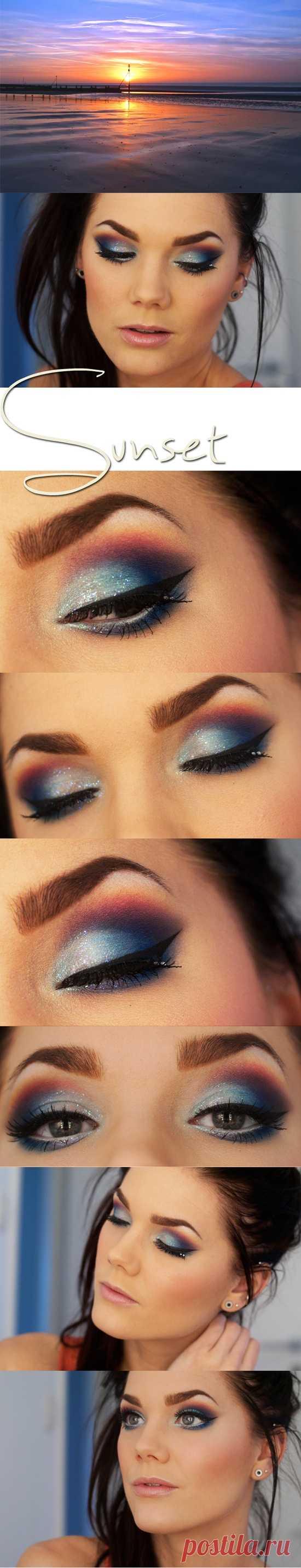 Красивый вечерний make-up, в котором все цвета заката