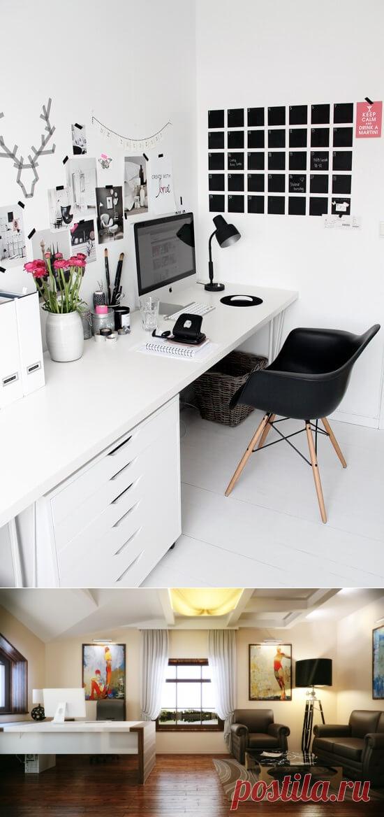 Интерьер кабинета в доме: рабочий уют
