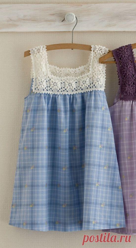 Вязание крючком + ткань, в результате очаровательное платье, для маленькой принцессы! ВЯЗАНИЕ Комбинированное