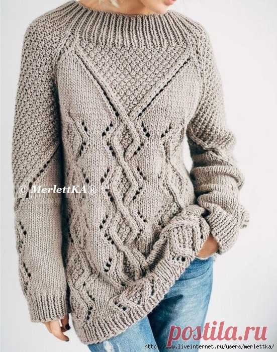 Новинки осени 2020 - Фактурный пуловер оверсайз спицами
