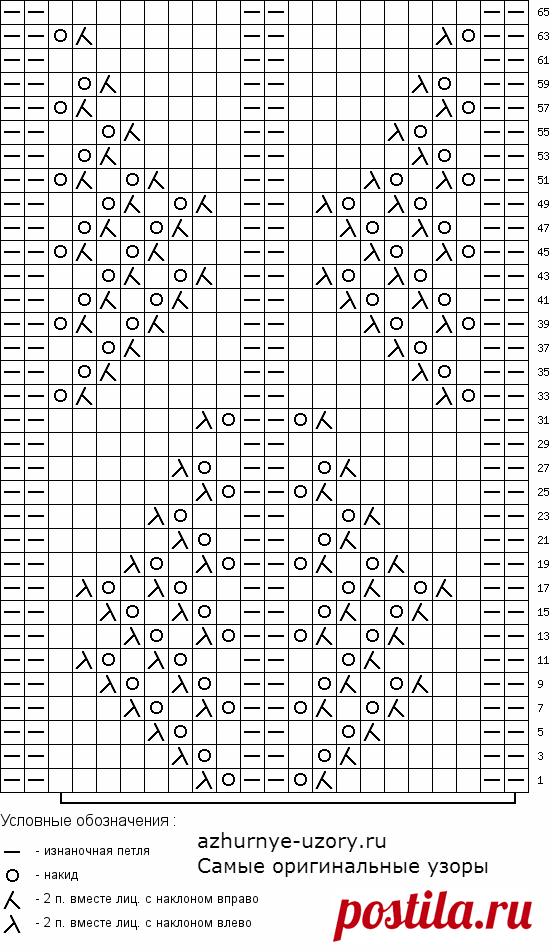 № 182 Крупный ажурный узор спицами — схема   АЖУР