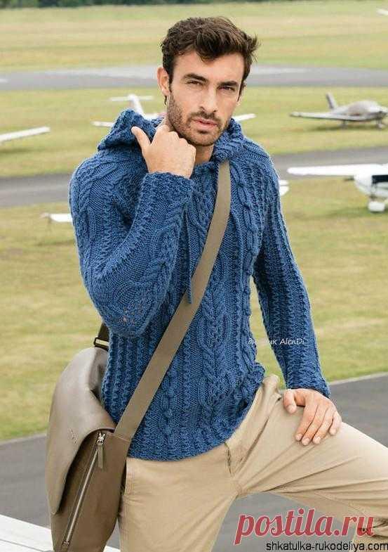 Мужской пуловер с капюшоном спицами Мужской пуловер с капюшоном спицами описание. Связать мужской кардиган с капюшоном спицами схемы