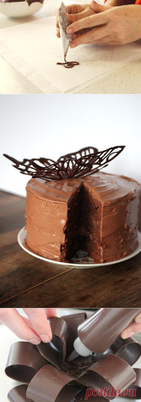 узоры шоколадом на торте пошаговые фото породистый