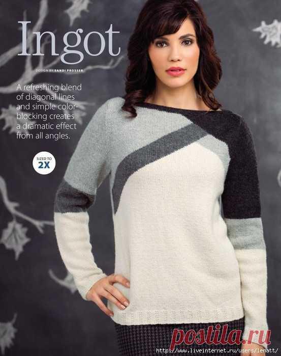Спицы.Пуловер с многоцветным геометрическим узором
