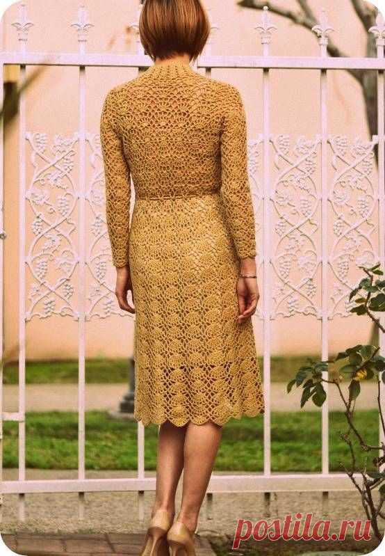 Узор крючком для платья в стиле ретро