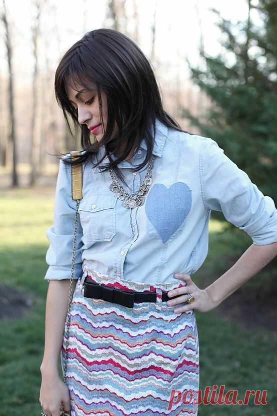 Рубашка с сердцем / Рубашки / Модный сайт о стильной переделке одежды и интерьера