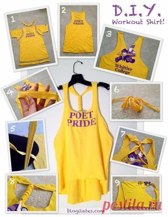 Переделка футболки в топ / Футболки DIY / Модный сайт о стильной переделке одежды и интерьера