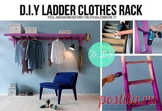 Вешалка из лестницы / Организованное хранение / Модный сайт о стильной переделке одежды и интерьера