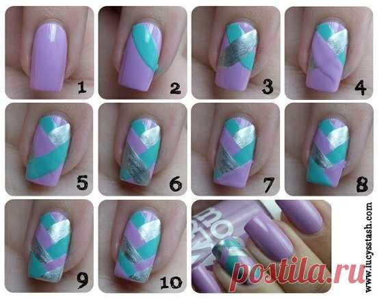 Плетем косички на ногтях
