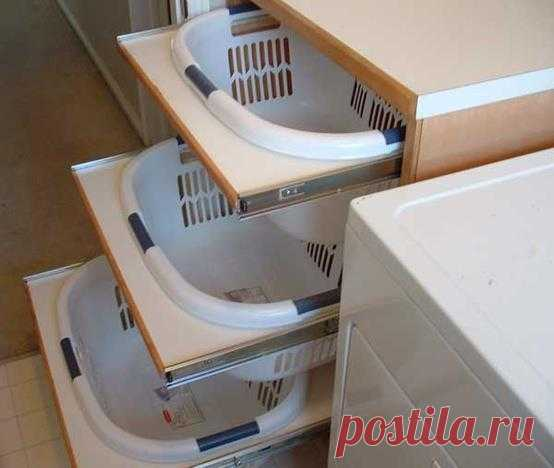 Idea on sorting of dirty clothes in a bathroom.