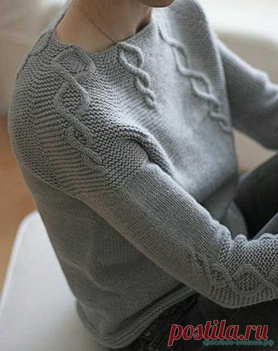 Красивое вязание | Джемпер регланом сверху.