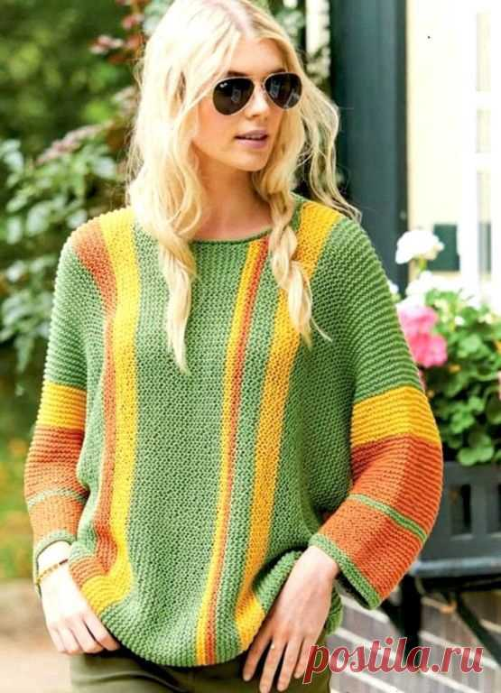 Пуловер с продольными полосами (Вязание спицами) – Журнал Вдохновение Рукодельницы
