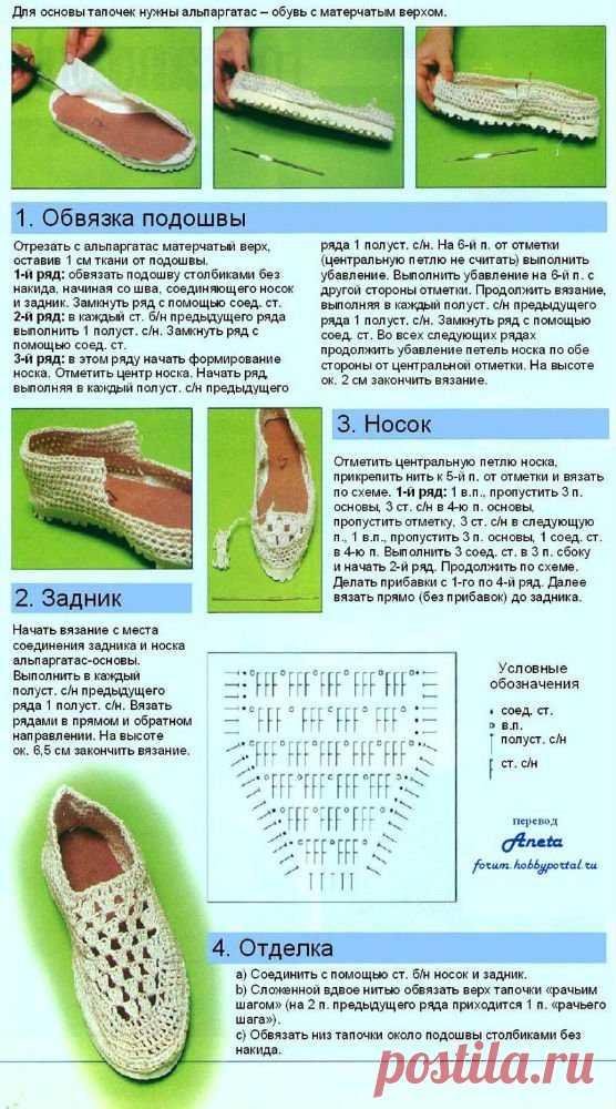 Вязание тапочек на подошве схемы и описание