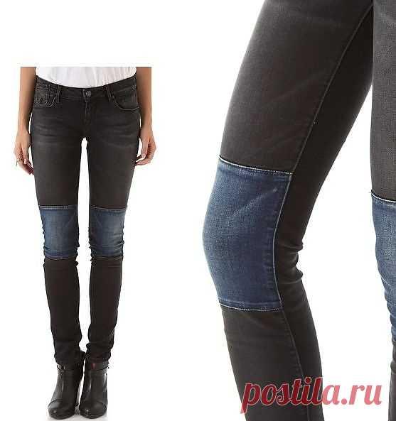 Черные джинсы с необычными наколенниками / Джинсы / Модный сайт о стильной переделке одежды и интерьера