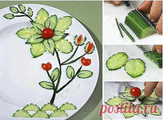 Цветок из огурцов, фото - карвинг / Карвинг из овощей и фруктов - фото, видео для начинающих / КлуКлу. Рукоделие - бисероплетение, квиллинг, вышивка крестом, вязание