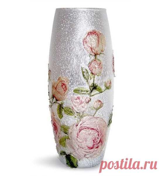 31a93db56 El florero. Dekupazh por el gel transparente que modela   Рукоделие ...
