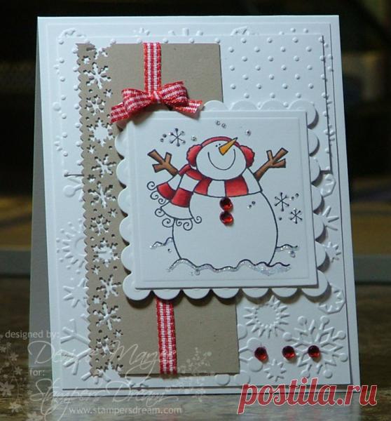 Новогодняя открытка в стиле скрапбукинг своими руками пошагово снеговик, дом милый