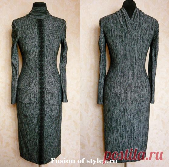 Моделирование трикотажного платья с оригинальным воротником | СЛИЯНИЕ СТИЛЕЙ