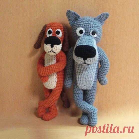 PDF Пёс и Волк крючком. FREE crochet pattern; Аmigurumi animal patterns. Амигуруми схемы и описания на русском. Вязаные игрушки и поделки своими руками #amimore - Собака, пёс, собачка, щенок, пёсик, волк, волчок, волчонок.
