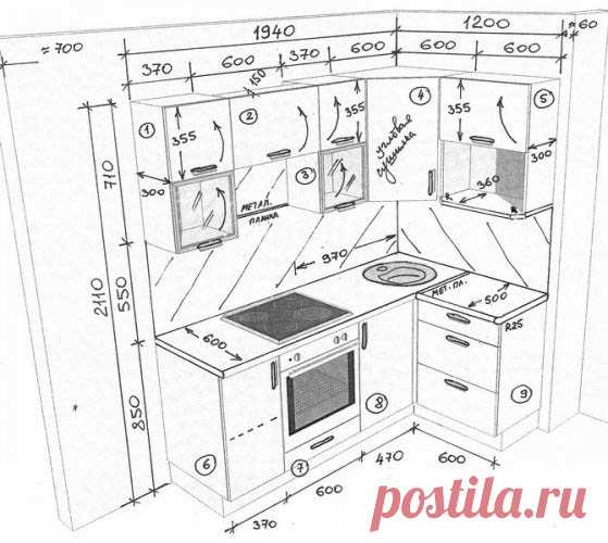 The sketch of kitchen with sizes: angular kitchen, the drawing of kitchen the hands, an interior in pictures how to draw design of the project, drawings, models, video