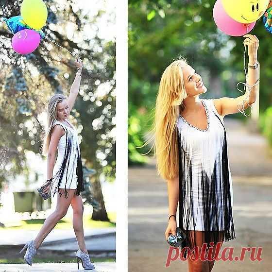 Платье с двухцветной бахромой / Платья Diy / Модный сайт о стильной переделке одежды и интерьера