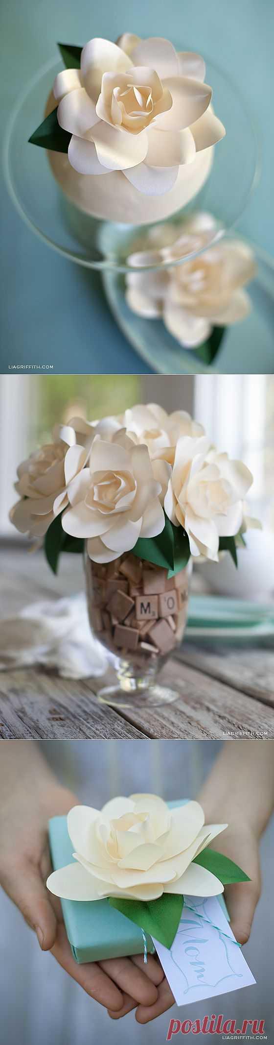 DIY Цветок гардении из бумаги